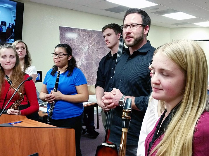 Students from Grand Canyon High School's jazz band performed for the Tusayan Town Council at the Jan. 18 meeting.