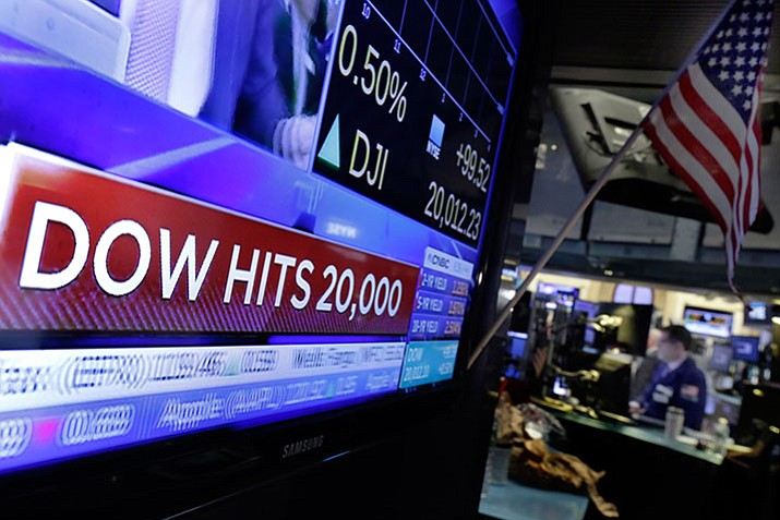 A television screen on the floor of the New York Stock Exchange headlines the Dow Jones industrial average, Wednesday.