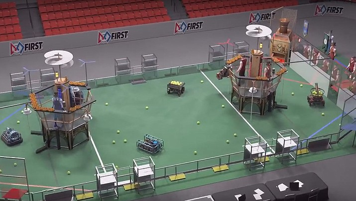 A screenshot of the 2017 FIRST Robotics Competition game animation, above. This contest will feature humans for the first time.