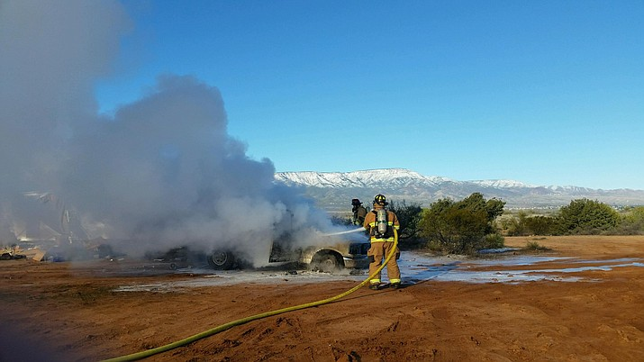 A discarded match is believed to be the cause of a vehicle fire on Thousand Trails Road off SR 260 between Cottonwood and Camp Verde Sunday morning. (Photo courtesy VVFD)