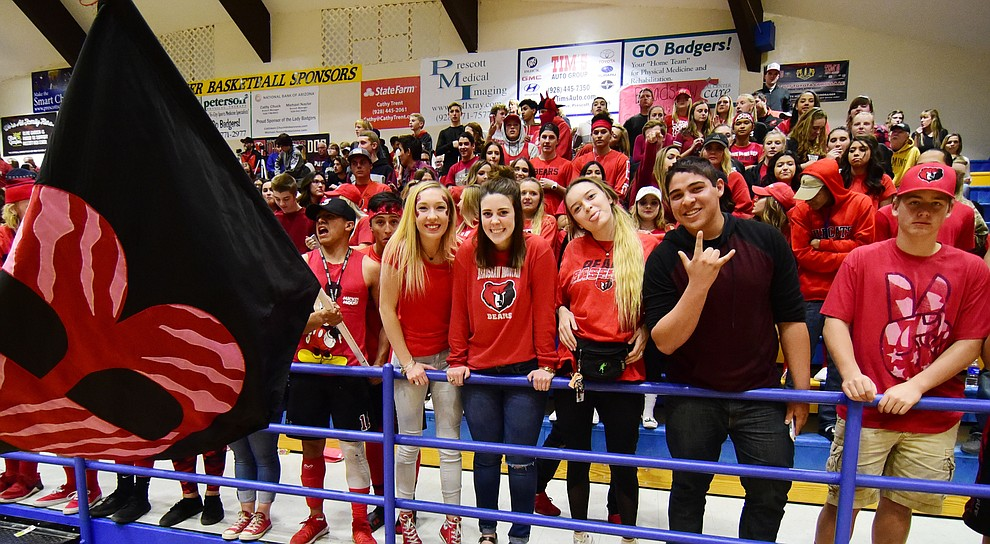Bradshaw Mountain's fans are happy before the game as the Bears take on the Prescott Badgers Tuesday, January 31 in Prescott. (Les Stukenberg/The Daily Courier)
