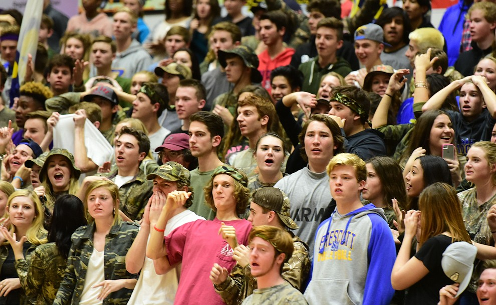 Prescott' fans reacts after falling behind with 10 seconds left as the Badgers take on the Bradshaw Mountain Bears Tuesday, January 31 in Prescott. (Les Stukenberg/The Daily Courier)