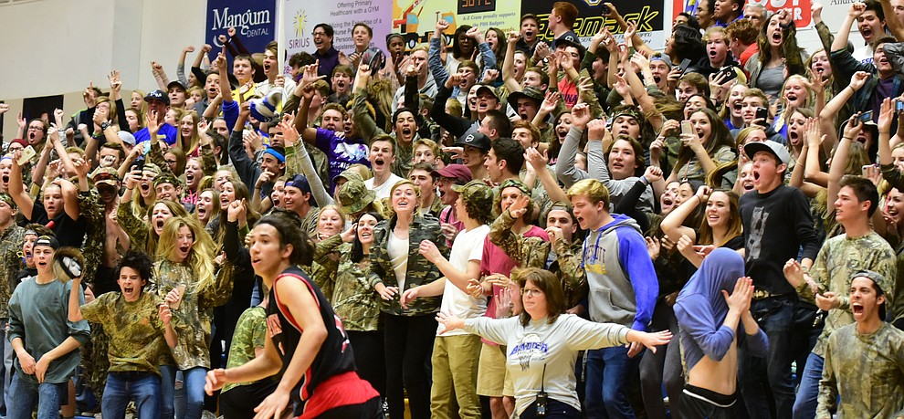 Prescott fans reacts to the winning shot by Kody Jones as the Badgers take on the Bradshaw Mountain Bears Tuesday, January 31 in Prescott. (Les Stukenberg/The Daily Courier)