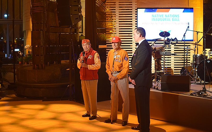Navajo Code Talkers Peter MacDonald Sr. and Roy Hawthorne speak at the Native Nations Inaugural Ball at the National Museum of the American Indian Jan. 20. Photo/Arren Kimbel-Sannit, Cronkite News