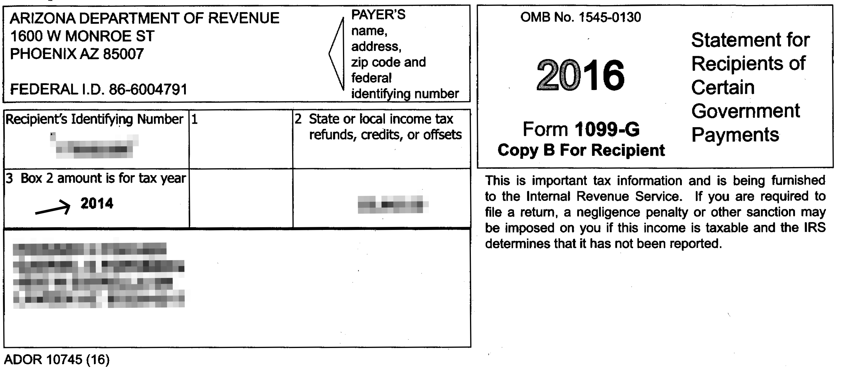 Hold Up On Doing Your Taxes Arizona Tax Form 1099 G Is Flawed The