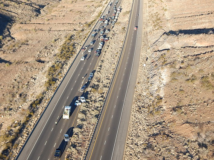 Approximately 20 cars were involved in Wednesday morning's pileup on  southbound U.S. 93 at Coyote Pass.