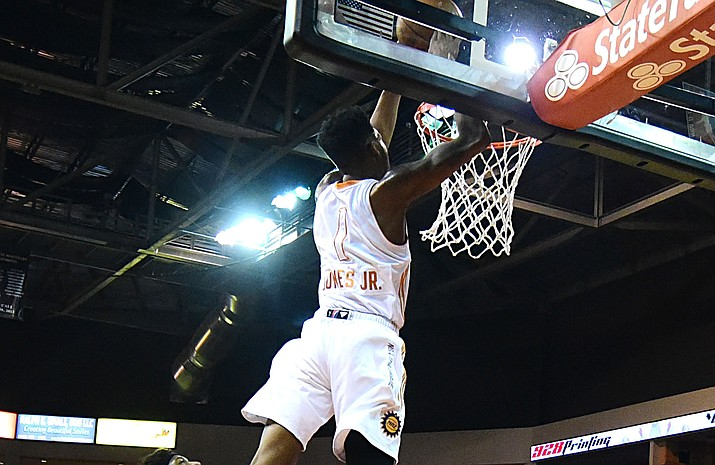 Northern Arizona's Derrick Jones Jr. slams one home as the Suns take on the Canton Charge on Jan. 6 in Prescott Valley. Jones has been selected to participate in the NBA Slam Dunk Contest during All-Star Weekend in New Orleans, La. He is currently a member of the parent-club Phoenix Suns. (Les Stukenberg/The Daily Courier)