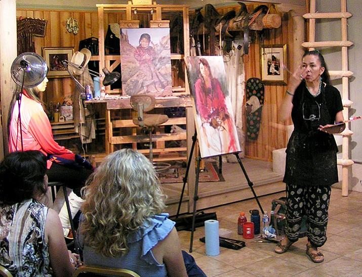 Gretchen Lopez giving art demo.