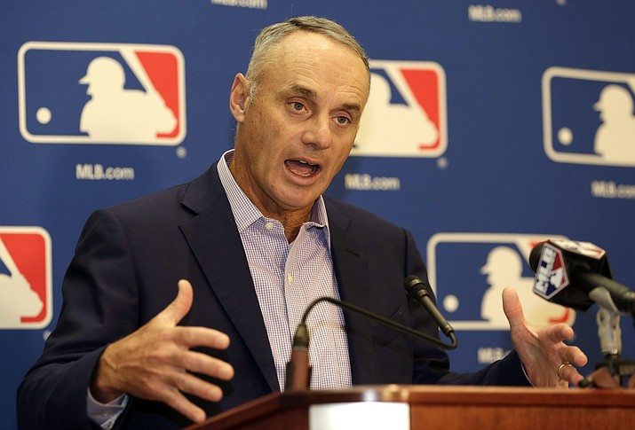 Major League Baseball Commissioner Rob Manfred speaks during a news conference following a meeting with MLB owners Friday in Palm Beach, Fla. (Lynne Sladky/Associated Press)