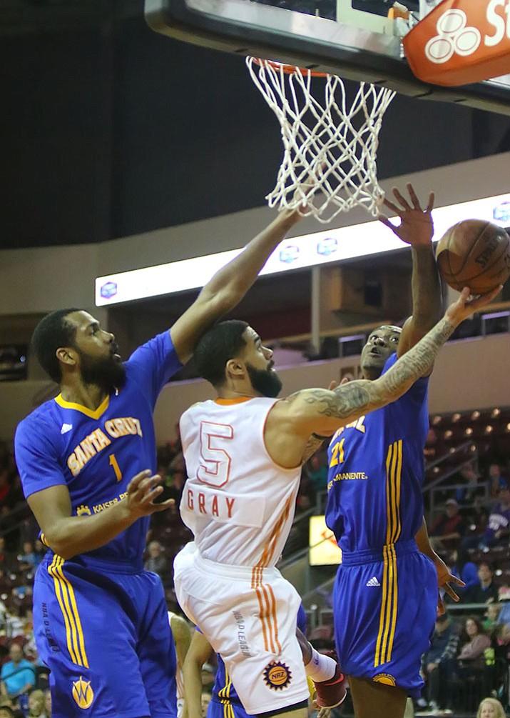 Northern Arizona Suns guard Josh Gray (5) drives the basket against the Santa Cruz Warriors in an NBA Development League game Saturday, Feb. 4, in Prescott Valley.