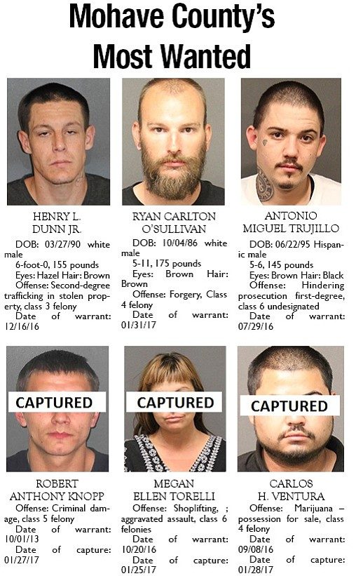 Mohave County's Most Wanted: Feb. 6, 2017