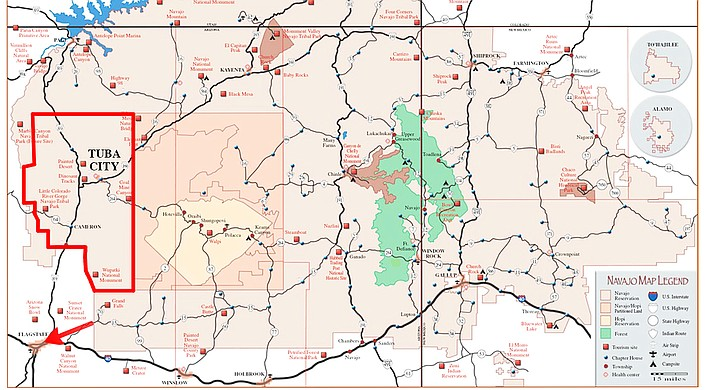 The Bennett Freeze area, highlighted in red, shows the area that was affected by the 1966 freeze on the Navajo Nation. Map from report given to the U.S. General Accounting Office's Navajo-Hopi Resettlement Program