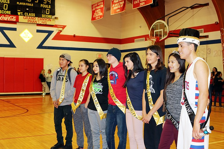 Grand Canyon High School homecoming royalty Rufus Kebahe, Cayli Miles, Natalie Ramos, Nolan Johnson, Emma Perkins, Cale Wisher, Mariela Montano and Omar Zapata.