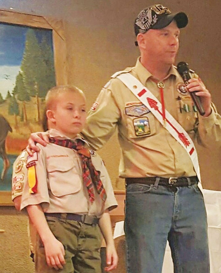 During the award ceremony, Webelos Scout Conor Steidl was awarded with a National award for lifesaving and meritorious action. These are given on a national level only for outstanding and unusual acts that demonstrate heroism, skill, or bravery and reflect Scouting ideals. Conor received this award for saving his grandfather's life when he noticed his grandfather was unresponsive and alerted nearby adults and had the paramedics called.