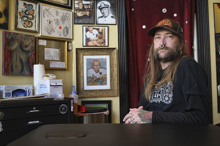 Jeff 'Jefe' Arnett opened Ten in One Tattoo shop in downtown Williams Jan. 13.