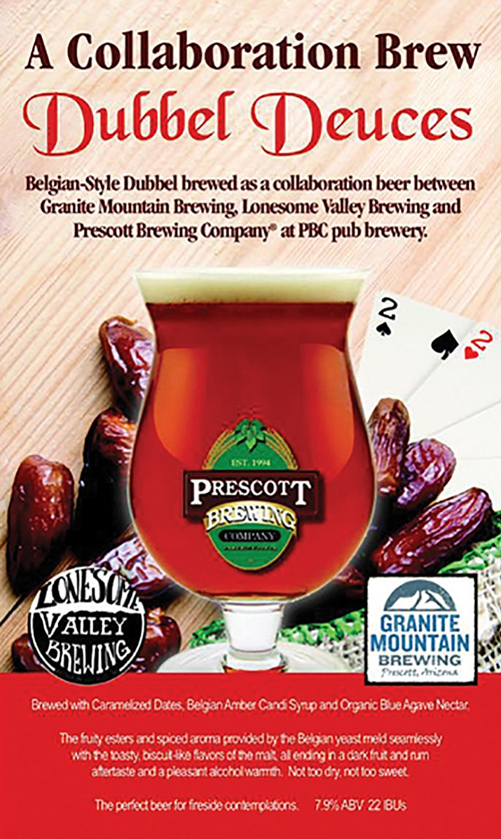 """Granite Mountain Brewing, Prescott Brewing Company and Lonesome Valley Brewing have collaborated to make a Belgian-style Dubbel they've named """"Dubbel Deuces"""" in honor of AZ Beer Week."""