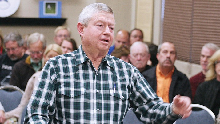 Andy Groseta, former President of the Mingus Union High School Board of Education, tells the Cottonwood-Oak Creek School Bboard why he believes that COCSD should be part of a larger school district with Clarkdale-Jerome and Mingus Union school districts. (Photo by Bill Helm)