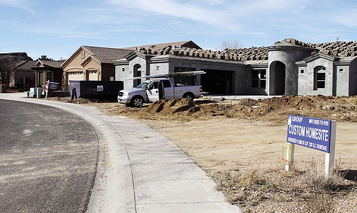 A home under construction at Country Club Drive.