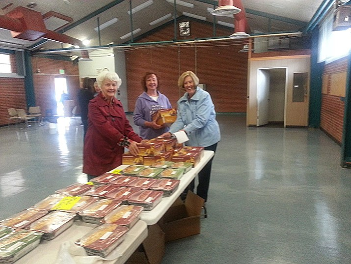 P.E.O. Chapter DX is taking orders for Honey Baked Hams and Honey Baked Products to be delivered to Prescott Thursday, April 13.Call 928-499-8936 or 928-771-0903 to order. Pictured above are P.E.O. members Edie Mitchell, Karen French and Pat George.