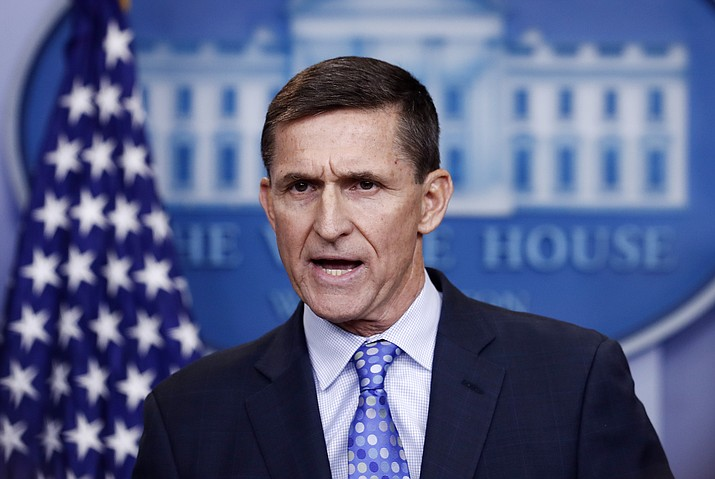 National Security Adviser Michael Flynn speaks during the daily news briefing at the White House, in Washington, Wednesday, Feb. 1. Flynn resigned late Monday, Feb. 13.