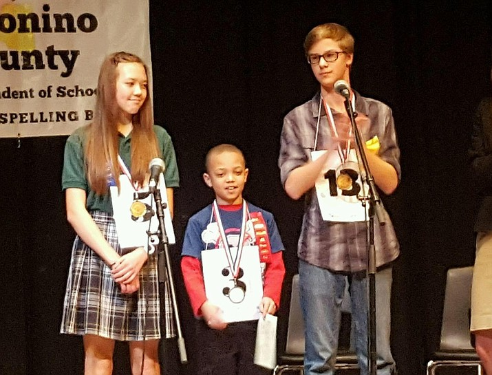 Katrina Vollmer, Iscariot Rushing and Jacob Rush place at the Coconino County Spelling Bee Feb. 11.