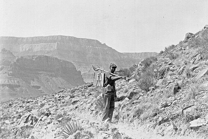 An African American man working on Clear Creek Trail in Grand Canyon Natinoal Park, circa 1934.