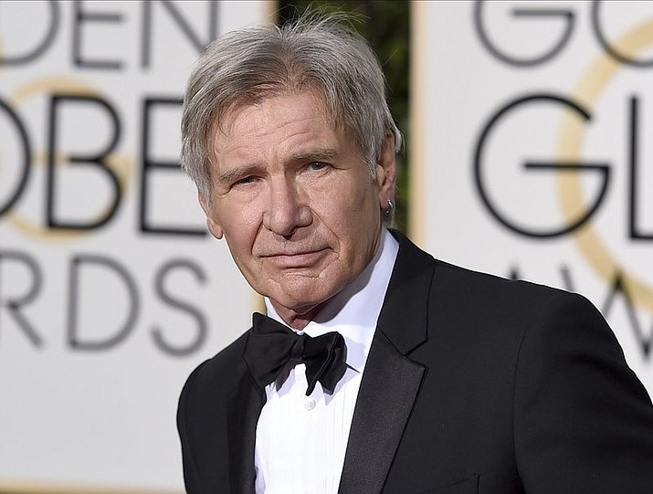 Harrison Ford arrives at the 73rd annual Golden Globe Awards in Beverly Hills, Calif. Ford reportedly had a potentially serious run-in with an airliner at a Southern California airport Monday.
