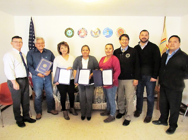 Vice President Jonathan Nez stands with the first four Veteran Service Officers to be certified with the Navajo Nation. The officers help veterans submit claims and appeal cases through the Arizona Department of Veteran Services. Submitted photo
