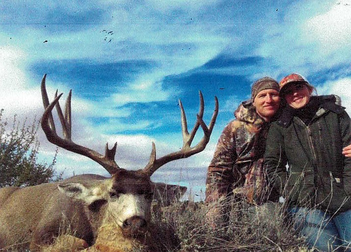 Beki Slater and her father with Slater's first deer.