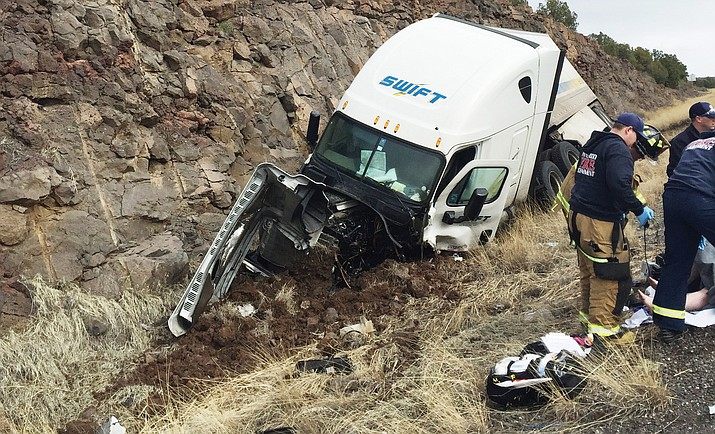 A carjacking suspect in a stolen vehicle fired at pursuing law enforcement vehicles along I-17 Sunday morning before colliding head-on into a commercial vehicle. I-17 was closed for 10 hours while DPS investigated. (Photo courtesy of DPS)