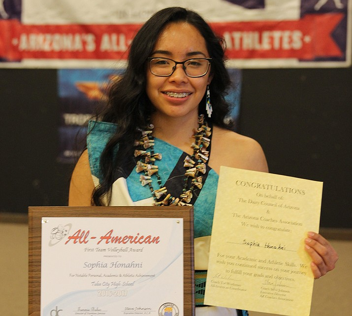 Sophia Honahni, 17, of Tuba City High School was awarded a special combination sports and academic award from the Arizona Dairy Council and Arizona Coaches Association at the Arizona Leadership Academy in Gilbert. Honahni won 2017 All American First Team Volleyball award,  which honors sports skill and commitment to community service for the year. Photo/Rosanda Suetopka