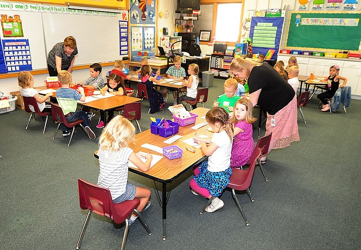 August file photo of Kindergarten students on the first day of the 2016-17 school year at Abia Judd Elementary School in Prescott. SB1431 also would allow parents of kindergartners to get vouchers without ever having to first enroll their children in a public school and without any evidence of whether they were going to put their children in private schools anyway.