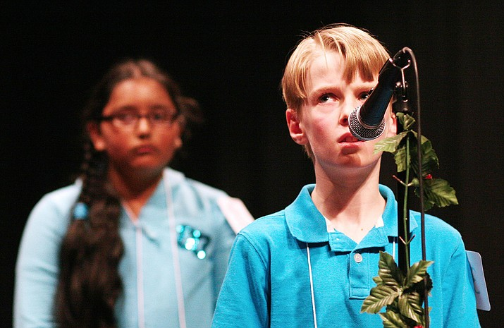 For the third consecutive year, Prescott Valley's Tanner Dodt looks to finish first in the Yavapai County Spelling Bee. Tanner is pictured in 2015, when he won his first county spelling bee by correctly spelling the word precipice. (Photo by Bill Helm)