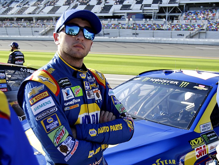 Chase Elliott looks at the leader board after a qualifying run for the NASCAR Daytona 500 auto race at Daytona International Speedway, Sunday, Feb. 19, 2017, in Daytona Beach, Fla.