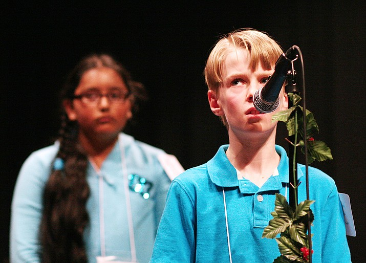 For the third consecutive year, Prescott Valley's Tanner Dodt looks to finish first in the Yavapai County Spelling Bee. Tanner is pictured in 2015, when he won his first county spelling bee by correctly spelling the word precipice.