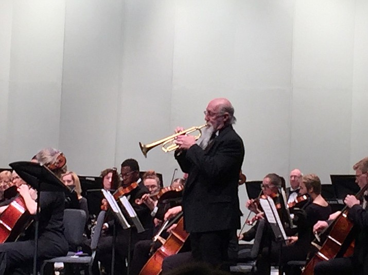 Trumpet soloist Carl Rowe plays in the Prescott POPS! Symphony at the Yavapai College Performing Arts Center on Feb. 19.