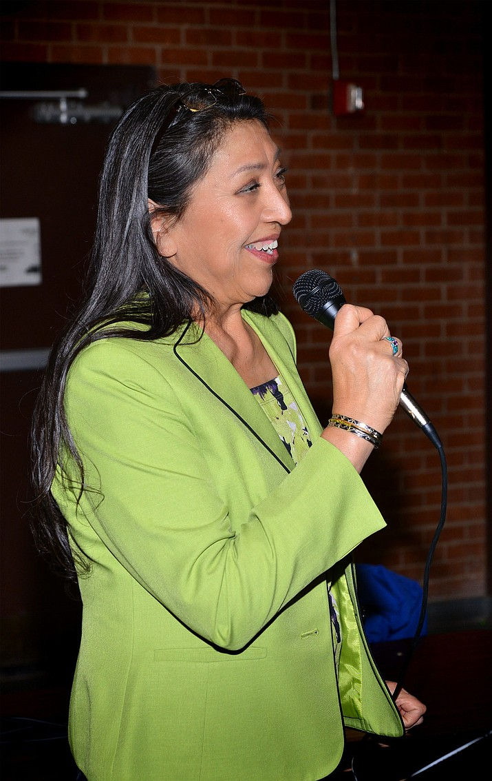 Federal Program Director  Denise Estudillo address es the Indian Education Committee in Winslow Jan. 30. Photo/Todd Roth