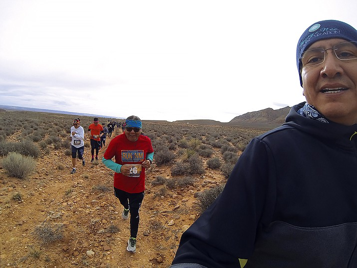 Navajo Nation Vice President Jonathan Nez takes a selfie during the Little Colorado River Gorge half marathon and 10K run. This was the third year Nez ran the half marathon. Submitted photo