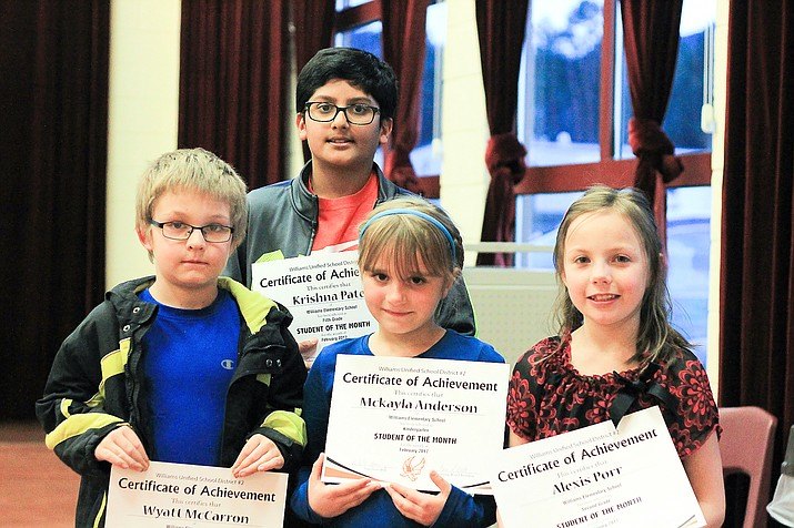 Wyatt McCarron, Krishna Patel, Mckayla Anderson and Alexis Porr are Students of the Month for the elementary school.