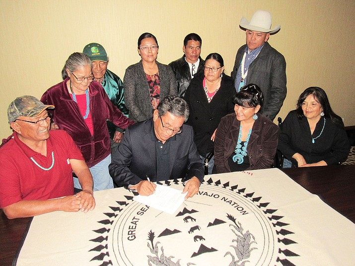 Navajo President Russell Begaye signs legislation approving nearly $255,000 for construction to start on 10 homes in the Bennett Freeze area on the western side of the Navajo reservation. Submitted photo