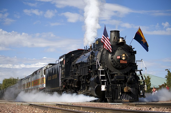 Along with daily train service on restored diesel trains, the Grand Canyon Railway operates a historic steam locomotive on the first Saturday of each month.