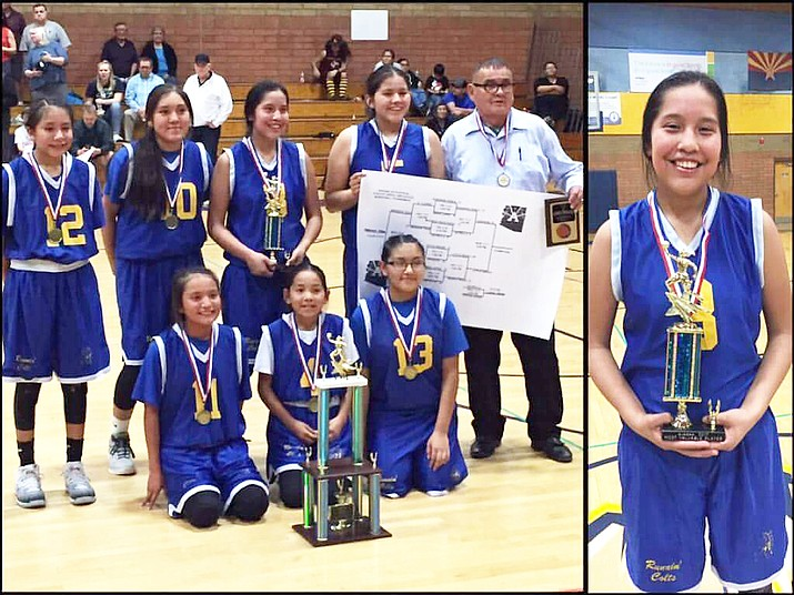 Little Singer Community School basketball team Kylie Begay, Sierra Singer, Shay Singer, Jaci Singer-Gonnie, Kristen Wagner, Anysa Tso and Vaniqa Dixon took home a 19-0 win over Sonoran Trails Jr. High School during the Big School Jr. High Basketball State Championship. Submitted photo