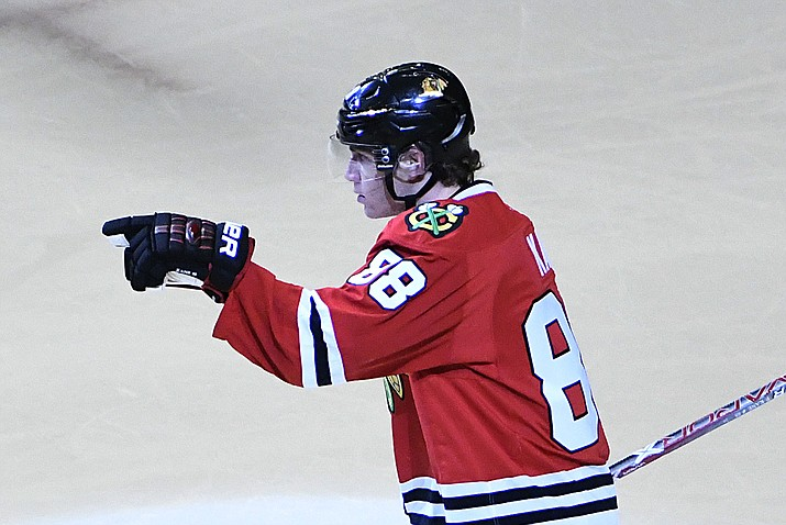Patrick Kane celebrates a goal during the second period Thursday, Feb. 23, in Chicago. (David Banks/Associated Press)