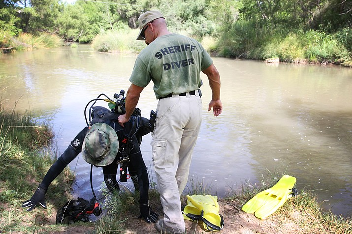 July 20, 2016, the Maricopa County Sheriff's Office dive team canvassed about 200 yards at Black Bridge for possible remains that may or may not have been connected to a skull found by three teenagers while fishing on July 18, 2016. (Photo by Bill Helm)