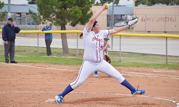 Camp Verde freshman ace Jacy Finley pitches in the Lady Cowboys' 15-2 win over Mayer at home on Wednesday. Finley struck out eight batters and gave up zero hits in her high school debut. (VVN/James Kelley)