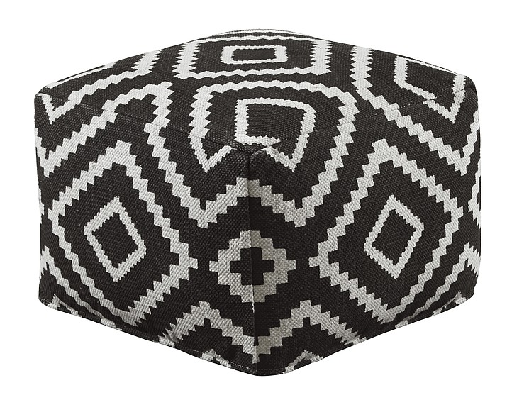 """This undated photo provided by Joss & Main shows the Hailey pouf which is covered in a bold geometric kilim material. """"An added bonus of these rug materials is that they're tightly woven and durable, and the bright patterns camouflage stains,"""" says Joss & Main style director Donna Garlough. (Joss & Main via AP)"""
