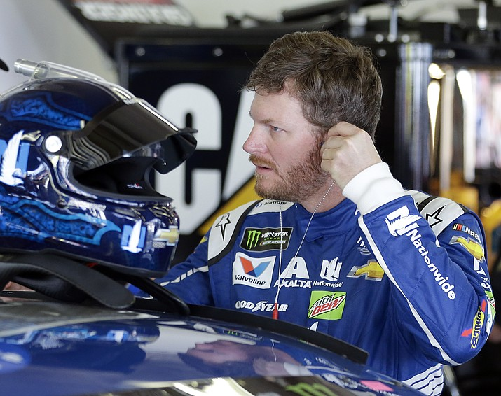 Dale Earnhardt Jr. prepares to get in his car during a NASCAR auto racing practice session at Daytona International Speedway, Friday, Feb. 24, in Daytona Beach, Fla.
