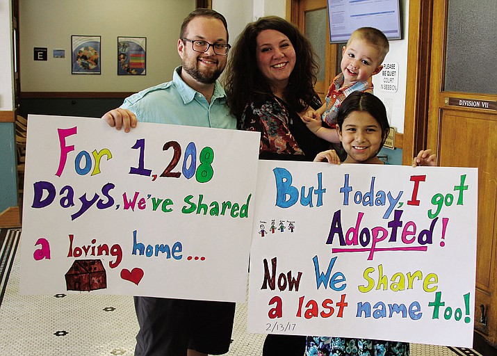 Kaylene Miller, 8, was officially adopted by Mitch and Lauren Miller, also holding their son Preston, 2, on a recent Monday at the Mohave County Superior Court.
