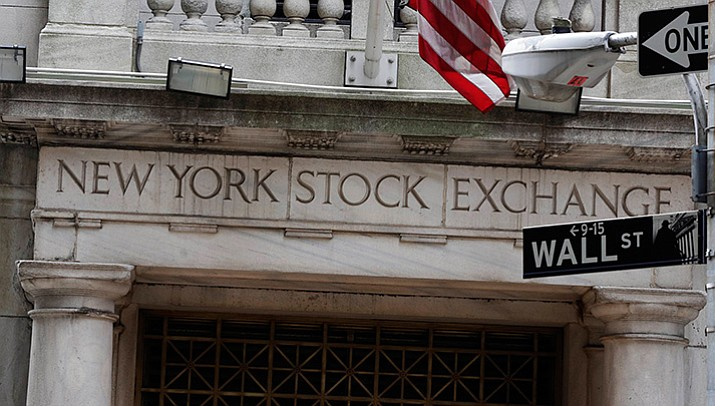 This file photo shows the Wall Street entrance of the New York Stock Exchange.