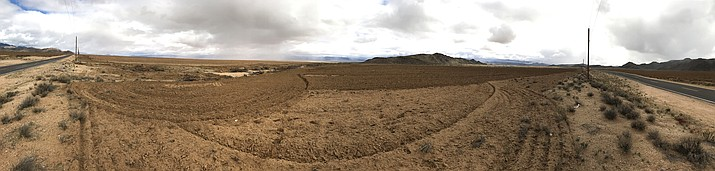 This swath of land north of Kingman has been cleared of native vegetation, one of many bladed expanses in the area.